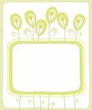 Prentbriefkaar, groene grens, bloemen, zaden, bessen, witte achtergrond Royalty-vrije Stock Afbeelding
