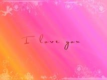 Prentbriefkaar I houdt van u, de Dag van de Valentijnskaart Stock Afbeelding