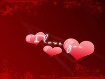 Prentbriefkaar I houdt van u, de Dag van de Valentijnskaart Royalty-vrije Stock Foto's