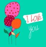 Prentbriefkaar-I-liefde-u Stock Afbeelding