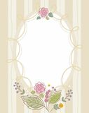 Prentbriefkaar, kader, beige, zand, gestreept, ovaal met bloemen Royalty-vrije Stock Afbeeldingen