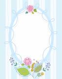 Prentbriefkaar, kader, blauw, gestreept, gekleurd, contourbloemen Royalty-vrije Stock Fotografie