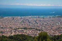 prentbriefkaar mening van Barcelona van de heuvel Tibidabo Royalty-vrije Stock Afbeelding