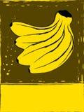 Prentbriefkaar met bananen Stock Afbeeldingen