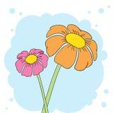 Prentbriefkaar met bloemen op een blauwe achtergrond Royalty-vrije Stock Afbeeldingen