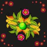 Prentbriefkaar met bloemenornament royalty-vrije illustratie