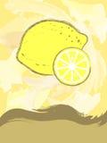 Prentbriefkaar met citroen Stock Afbeeldingen