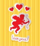 Prentbriefkaar met Cupido stock illustratie