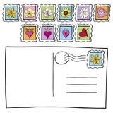 Prentbriefkaar met De Krabbel van Postzegels Stock Foto