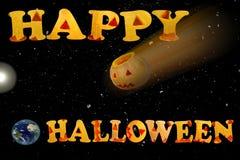 Prentbriefkaar met de woorden Gelukkig Halloween De Doodsster Stock Afbeeldingen