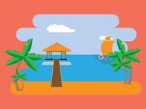Prentbriefkaar met een bungalow op het strand vector illustratie