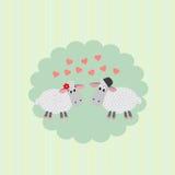 Prentbriefkaar met het houden van paar van schapen vector illustratie