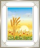 Prentbriefkaar met het natuurlijke landschap vector illustratie