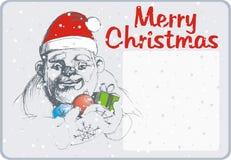 Prentbriefkaar met Kerstman Royalty-vrije Stock Afbeelding