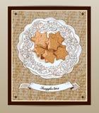 Prentbriefkaar met koekjes Stock Afbeeldingen