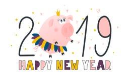 Prentbriefkaar met leuke piggy prinses - symbool van het jaar in de Chinese kalender 2019 Het karakter van het Piggybeeldverhaal  royalty-vrije illustratie