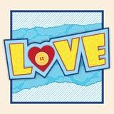 Prentbriefkaar met liefde het van letters voorzien Royalty-vrije Stock Afbeeldingen