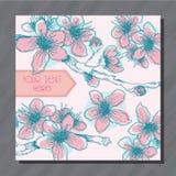 Prentbriefkaar met roze en blauwe hand-geschetste kersenbloemen Stock Foto