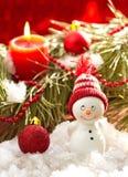 Prentbriefkaar met sneeuwman en Kerstmisdecoratie Royalty-vrije Stock Afbeeldingen