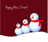Prentbriefkaar met snowmens Stock Afbeelding