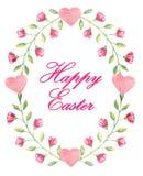 Prentbriefkaar met tekst 'Gelukkige Pasen 'in kader zoals ei met mooie kleine bloemen in waterverfstijl royalty-vrije illustratie