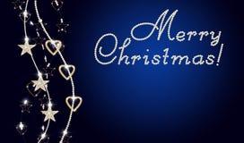 Prentbriefkaar met tekst Vrolijke Kerstmis Stock Afbeelding