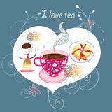 Prentbriefkaar met thee en cakes Stock Afbeelding