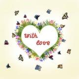 Prentbriefkaar met vlinders en bloemen op een lichte achtergrond Stock Foto