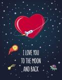 Prentbriefkaar op de Dag van Valentine ` s Stock Afbeelding