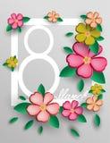 Prentbriefkaar op 8 Maart in de Internationale Vrouwen` s Dag Het openen van document origami Vector illustratie Eps 10 Stock Foto's