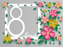 Prentbriefkaar op 8 Maart in de Internationale Vrouwen` s Dag Het openen van document origami Vector illustratie Eps 10 Stock Afbeeldingen