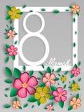 Prentbriefkaar op 8 Maart in de Internationale Vrouwen` s Dag Het openen van document origami Vector illustratie Eps 10 Stock Fotografie