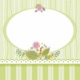 Prentbriefkaar, ovaal kader, groen, gestreept, bloemen, boeket Stock Afbeelding