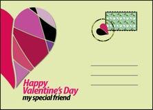 Prentbriefkaar speciaal voor de Dag van Valentine vector illustratie
