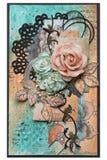 Prentbriefkaar in stijl het scrapbooking met rozen en bladerenbloemen Co Royalty-vrije Stock Afbeeldingen