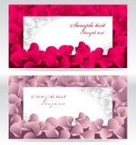 Prentbriefkaar twee of frames of banners met rood en pi Royalty-vrije Stock Afbeeldingen