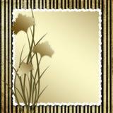 Prentbriefkaar-uitnodiging met bruine anjer Stock Fotografie