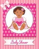 Prentbriefkaar van babydouche met leuk meisje op roze achtergrond Royalty-vrije Stock Fotografie
