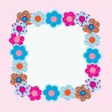 Prentbriefkaar van de bloemen op roze achtergrond Royalty-vrije Stock Afbeelding