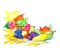 Prentbriefkaar van de herfstseizoen van tuinen Stock Foto