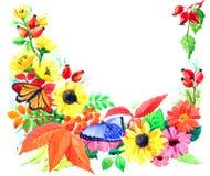 Prentbriefkaar van de herfstseizoen van tuinen Stock Afbeelding