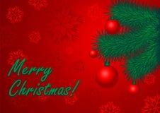 Prentbriefkaar van gelukwens Vrolijke Kerstmis Vector Illustratie