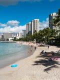 Prentbriefkaar van Waikiki Honolulu Hawaï Royalty-vrije Stock Afbeeldingen