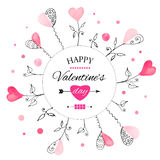 Prentbriefkaar voor de dag van Valentine s royalty-vrije illustratie