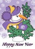 Prentbriefkaar voor het nieuwe jaar Stock Afbeelding