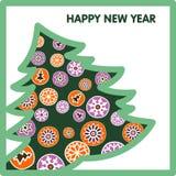 Prentbriefkaar voor het nieuwe jaar Royalty-vrije Stock Afbeeldingen