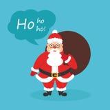 Prentbriefkaar voor Kerstmis en Nieuwjaar Leuke karakterkerstman met zak van giften Modern vlak ontwerp stock illustratie