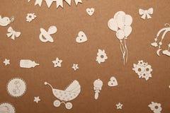 Prentbriefkaar voor pasgeboren met een beeld van pennen royalty-vrije stock afbeelding