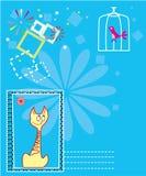 Prentbriefkaar voor tekst Stock Illustratie