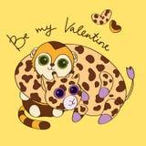 Prentbriefkaar voor Valentijnskaartendag met giraf en monke Royalty-vrije Stock Foto